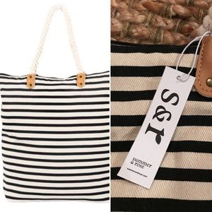 🌞 Summer & Rose striped canvas beach tote NWT 🏖